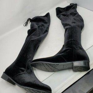 Marc Fisher Size 8 Black Humor 2 Velvet Over the Knee OTK Boot Chic Flat Classic